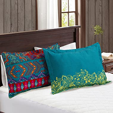 HNNSI Exotic Striped Bohemia Pillow Shams Queen Size 2 Pieces,100% Brushed Cotton Thick Boho Pillow Cases Bohemian Pillow Cov
