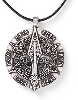 Viking Jewelry Raven Crow Gungnir Knotwork Norse Runes Necklace for Men for Women