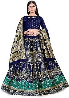 Drashti Villa Women's Wedding Special Semi Stiched Blue Heavy Jecquard Banarasi Silk Lehenga Choli With Banarasi Duptta (B...