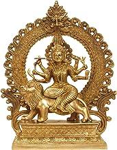Ashta-bhuja-dhari Simha-Vahini Durga - Brass Statue - Color Natural Brass Color