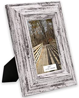 TERESA'S COLLECTIONS 5x7 inch Rustic Picture Frame, Handmade Distressed Design Shabby Chic Photo Poster Frame for Tabletop,Wedding,Home,Wall Decorations (Village)