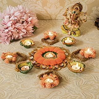Tied Ribbons Diwali Tealight Set with Terracotta Diya for Diwali Home Decor Combo Pack - Diwali Decorations and Diwali Gifts