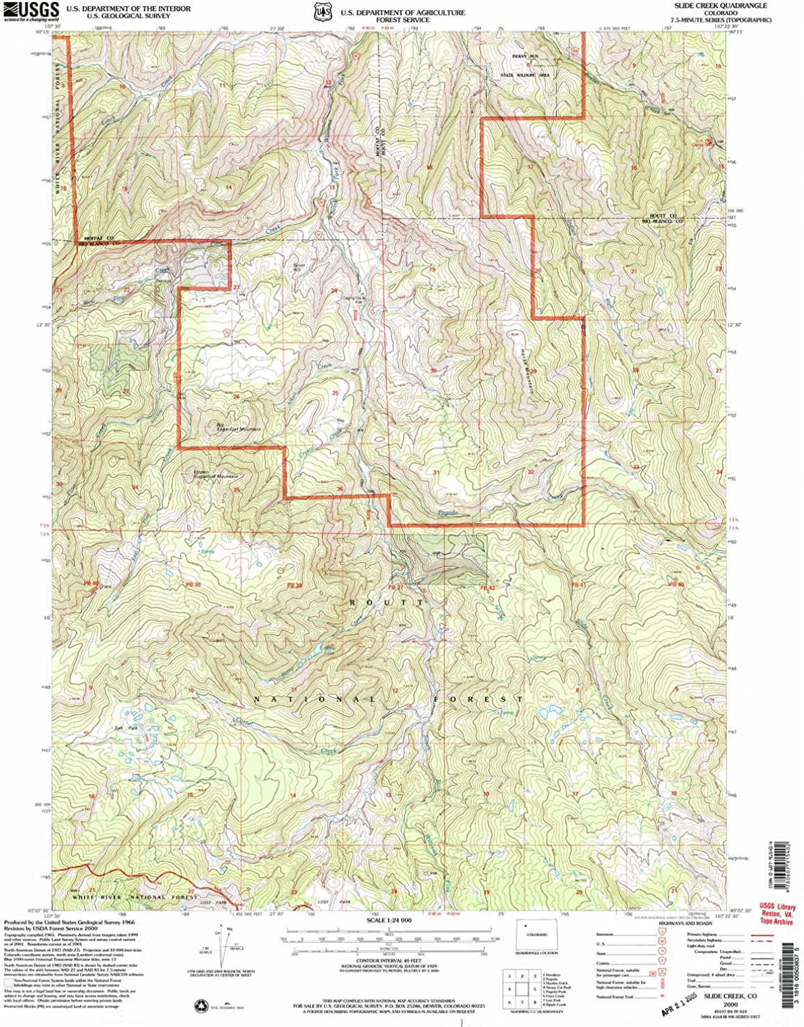 Slide Creek CO topo map, 1 24000 Scale, 7.5 X 7.5 Minute, Historical, 2000, Updated 2004, 26.7 x 22.1 in