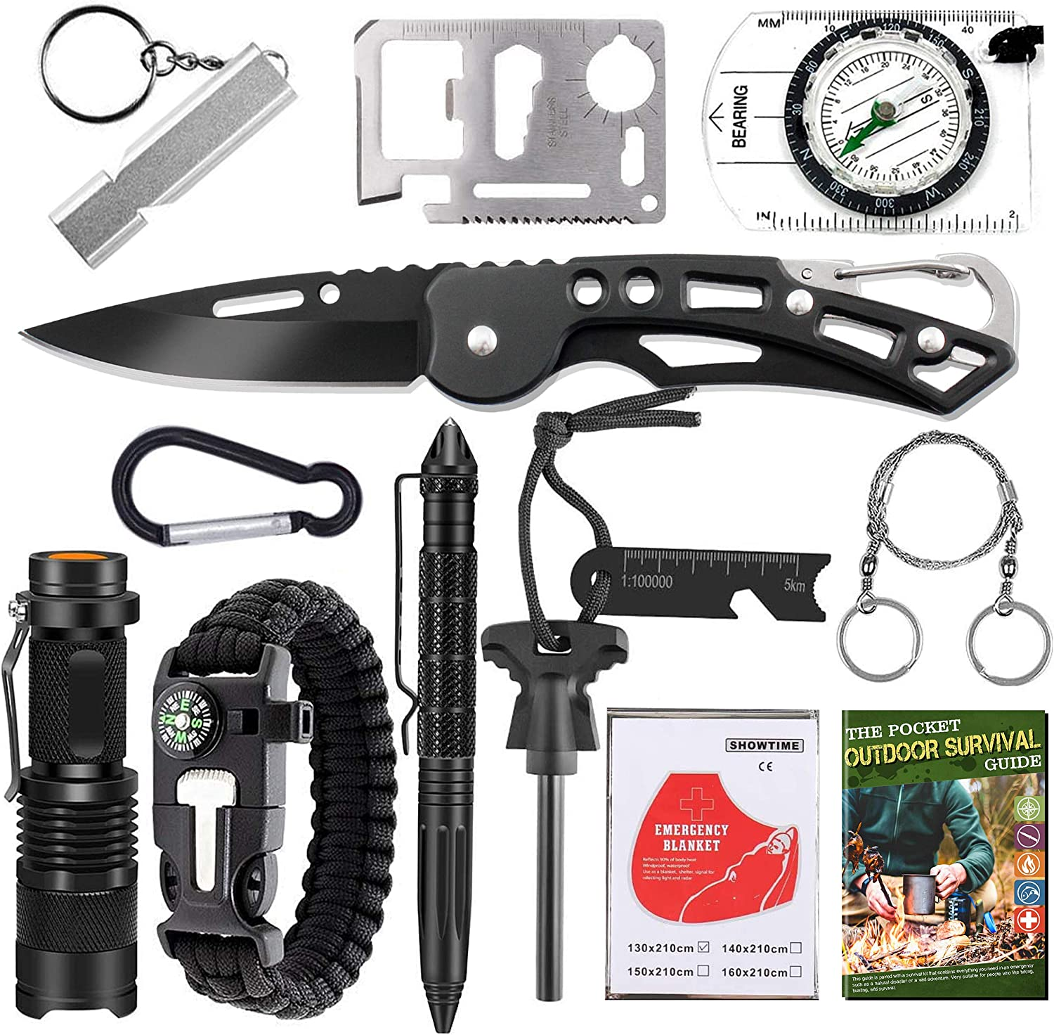 MIZUSUPI Survival Gear and Equipment 12 in 1,Emergency Tactical Tool Kit for Hiking Camping Fishing Adventures, Gifts for Men Dad Husband,Christmas Stocking Stuffers