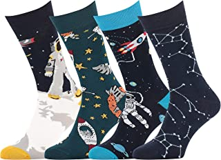 Fun Novelty Socks Men Women Science Space Sushi Sloth Fast Food 4-Pack Great as Gift Christmas