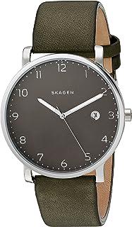 Skagen Men's Hagen Watch in Silvertone with Green Leather Strap