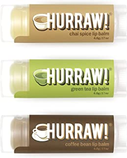 Hurraw Chai Spice, Green Tea, Coffee Bean Lip Balms Bundle, 3 Pack