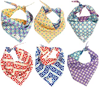 B&F 3 Pack Reversible Dog Bandana 3 Pieces - 6 Looks, Machine Washable Handmade pet Accessories. Scarves for Small, Medium,and Large Dogs. Mod. Mosaic