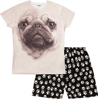 Pijama corto con estampado de huellas de Pug 3D 7-14 años