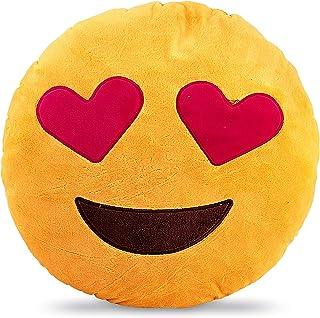 Emoji Smiley Emotion Yellow Round Cushion Pillow, Love In My Eyes