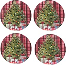 """Lintex Cottage Plaid Christmas Tree Print 15"""" Round Braided Round Placemat Set, 100% Cotton Thick Braided Rustic Plaid Xmas Tree Design Place Mats, Set of 4 Placemats"""