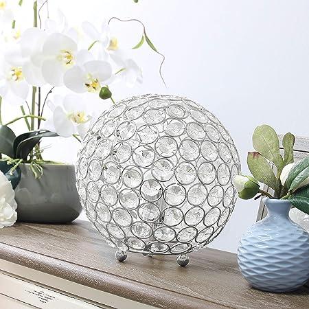 Elegant Designs LT1026-CHR Crystal Ball Table Lamp, Chrome