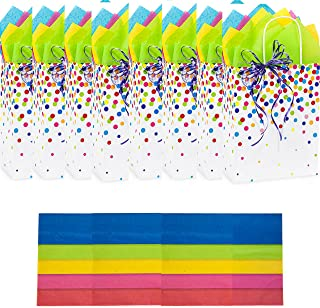 Birthday Gift Bags with Tissue Paper 8 Pack, Party Favors, Bulk Gifts, Christmas Holidays Graduation (Rainbow Confetti on Kraft Paper Medium Size 10.5