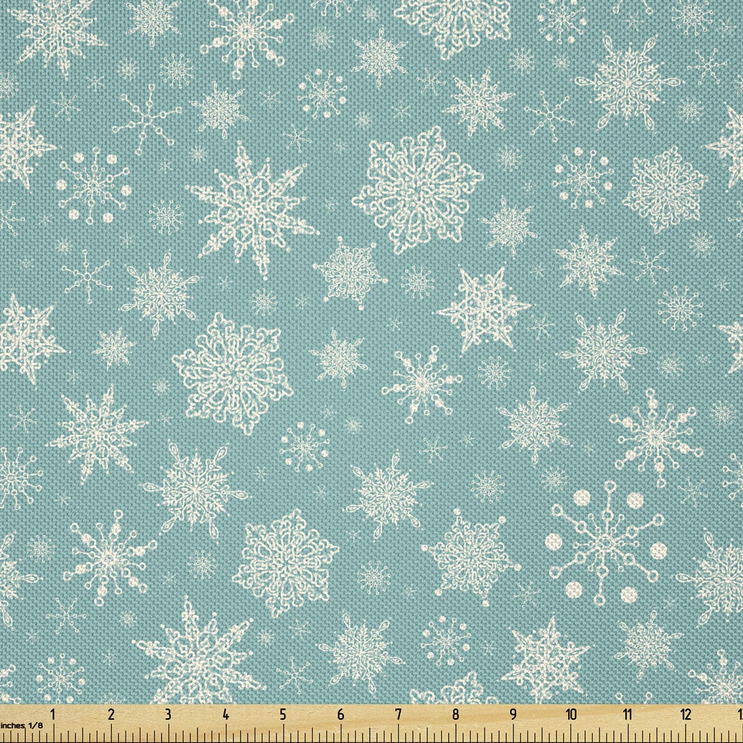 Ambesonne Snowflakes Fabric by Max 58% OFF The Yard lowest price Pattern o Themed Winter