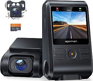 【2021進化版】 APEMAN ドライブレコーダー 前後カメラ 32Gカード付き 200万画素 IPSパネル 1080PフルHD 2カメラ 170度広角 GPS機能搭載 小型2インチ Gセンサー搭載/WDR/夜間対応/常時録画/駐車監視/動き...