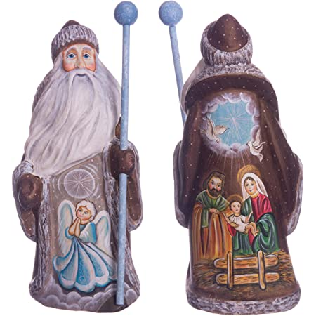 9.4 Carved Wooden Santa Figurine Christmas Decor Hand Carved Hand Painted Wooden Toy