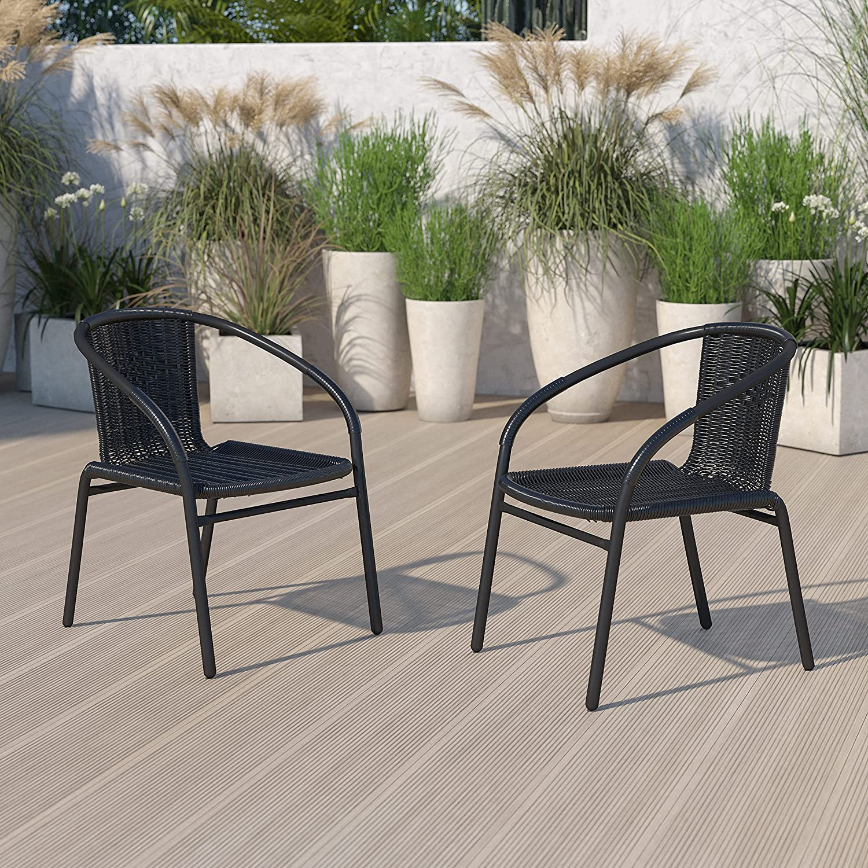 Flash Furniture SALENEW大人気! 2 Pack Black 売り込み Rattan Indoor-Outdoor St Restaurant