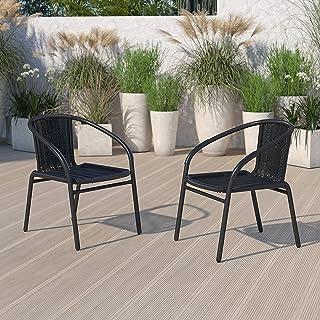 Flash Furniture 2 Pack Black Rattan Indoor-Outdoor...