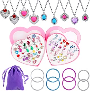 WATINC 72Pcs Princess Pretend Jewelry Toy Little Girl Jewelry Necklaces Crystal Clip on Earrings Adjustable Jewel Rings in Gift Box Bracelets Velvet Pouch for Girls Dress Up Accessories for Kids
