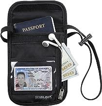 Lewis N. Clark Rfid Blocking Stash Neck Wallet, Travel Neck Pouch + Passport Holder for Women & Men - Black