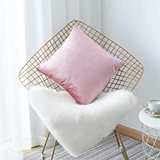 HOME BRILLIANT Valentines Decoration Decor Velvet Square Decorative Cushion Covers Throw Pillow Cover for Girl Wedding, 18x18 inch(45 cm), Blush Pink