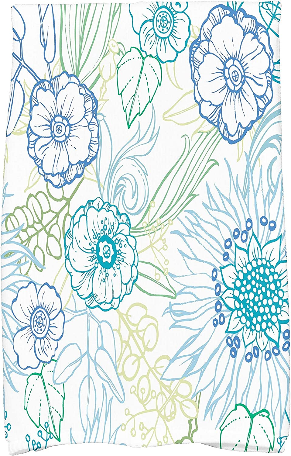 Amazon Com E By Design 16 X 25 Inch Zentangle 4 Color Floral Print Hand Towel Blue Kitchen Dining