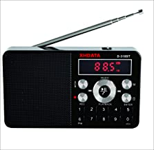 XHDATA D-318BT Mini FM Radio Portable Bluetooth Wireless Speaker Support MP3 with Micro SD/TF Card and Rechargeable Battery(Black)
