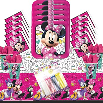 Cedar Crate Market Minnie Mouse Happy Helpers Party Supplies Pack for 16 Guests: Straws Table Cover Dinner Plates Luncheon Napkins and Cups Amscan 13718