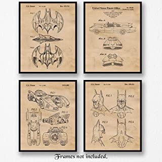 Original Batmobile Patent Poster Prints, Set of 4 (8x10) Unframed Photos, Wall Art Decor Gifts Under 20 for Home, Office, Garage, Man Cave, College Student, Teacher, Comic-Con & Batman Movies Fan