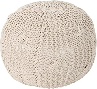 Christopher Knight Home Ansel Knitted Cotton Pouf, Beige