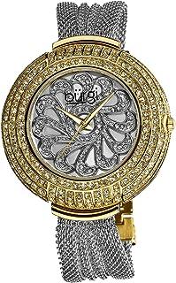 Flower Applique Dial On Genuine Crystals Display Women's Watch - Unique Design Stainless Steel Mesh Bracelet - BUR051