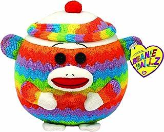 Ty Beanie Ballz - Sock Monkey - Rainbow