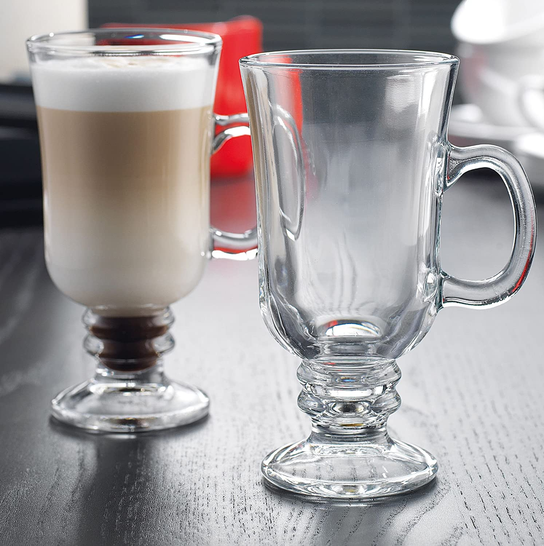 Amazon Com Stylish Glass Irish Coffee Mug With Handle Set Of 4 Clear And Irish Coffee Glasses Set Coffee Cups Mugs