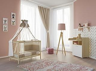Polini Kids Babyzimmer Set Gitterbett mit Wickelkommode Ahorn/Natur