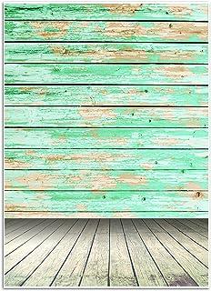 Blue Panda Fotohintergrund mit Vintage Holzwanddruck   Leicht, Faltbar   Ideal für Fotostudio, Party, Hochzeit, Video, Social Media, Kommerzielle Nutzung, 150x 220 cm