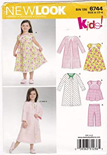 Babies' or Toddler's Nightgown, Robe, Pajama Top and Bottom Size 1/2, 1, 2, 3, 4 New Look Sewing Pattern 6744