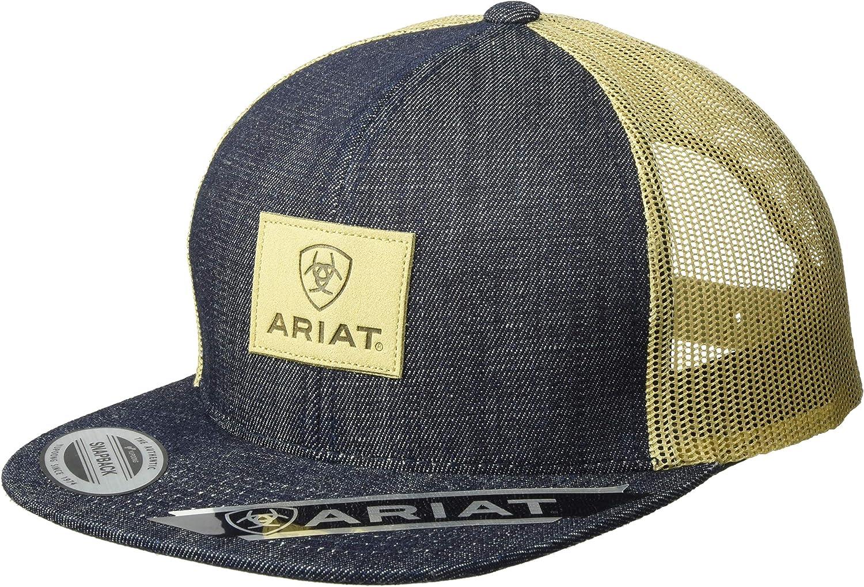 ARIAT Men's Denim Leather Patch Mesh Back Cap, Blue, One Size