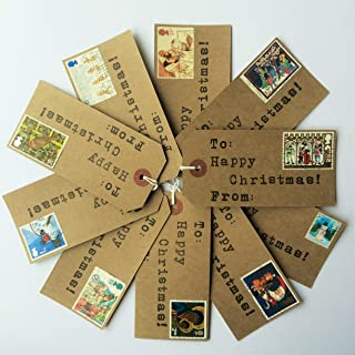 10 x Handmade Christmas Gift Tags with Vintage Christmas