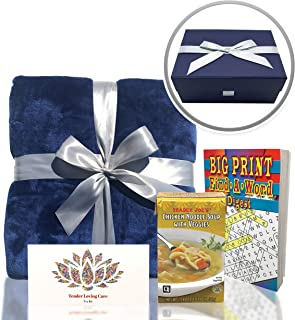Get Well Gifts Box - Includes Luxury Blanket Wellness Tea Chicken Soup and Word Find Book |Get Well Soon Gifts for Women | Get Well Gifts for Men Presented in Beautiful Gift Box with Ribbon
