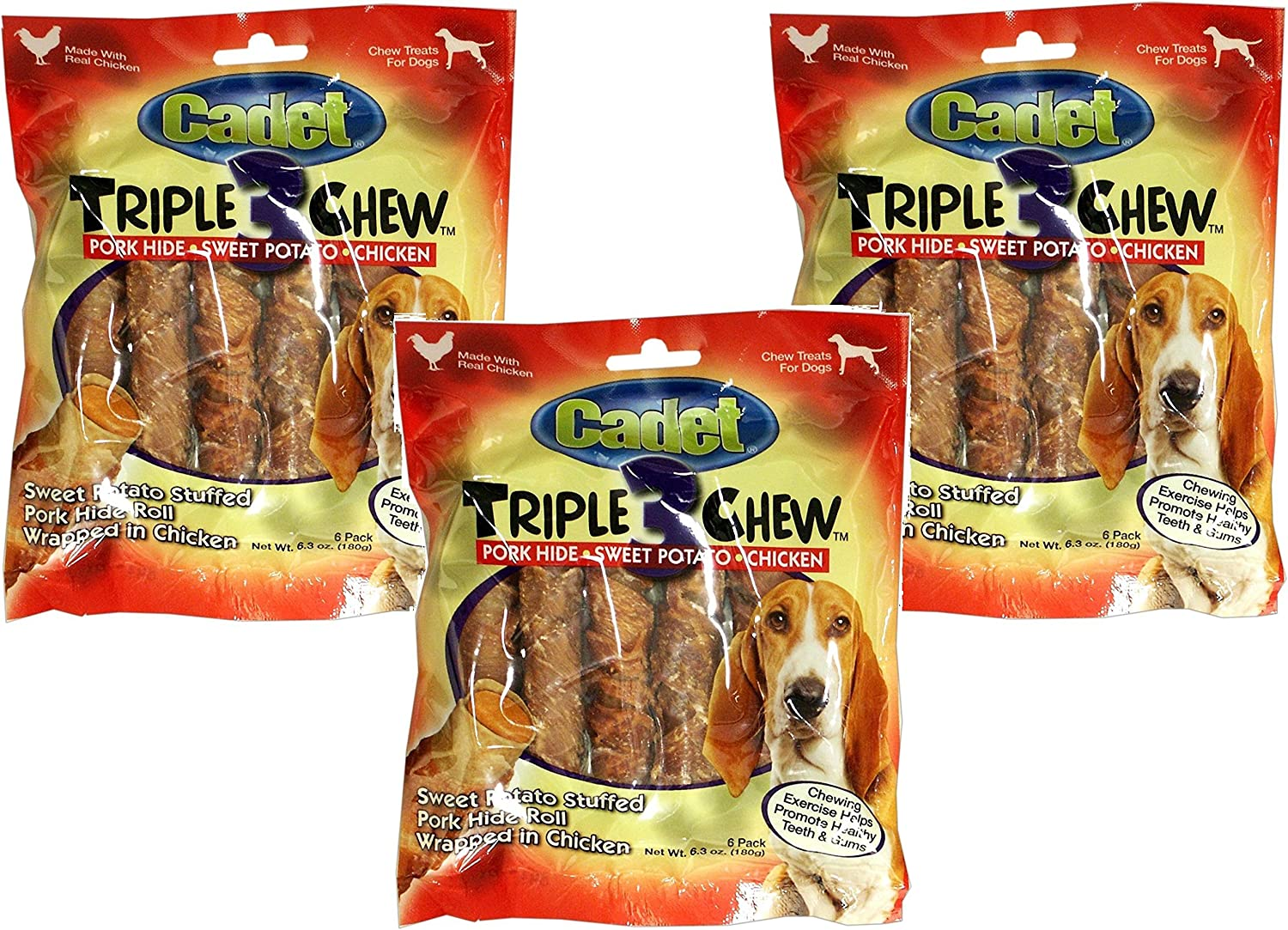 Cadet Triple Chew Treats , 6pack (Pack of 3)