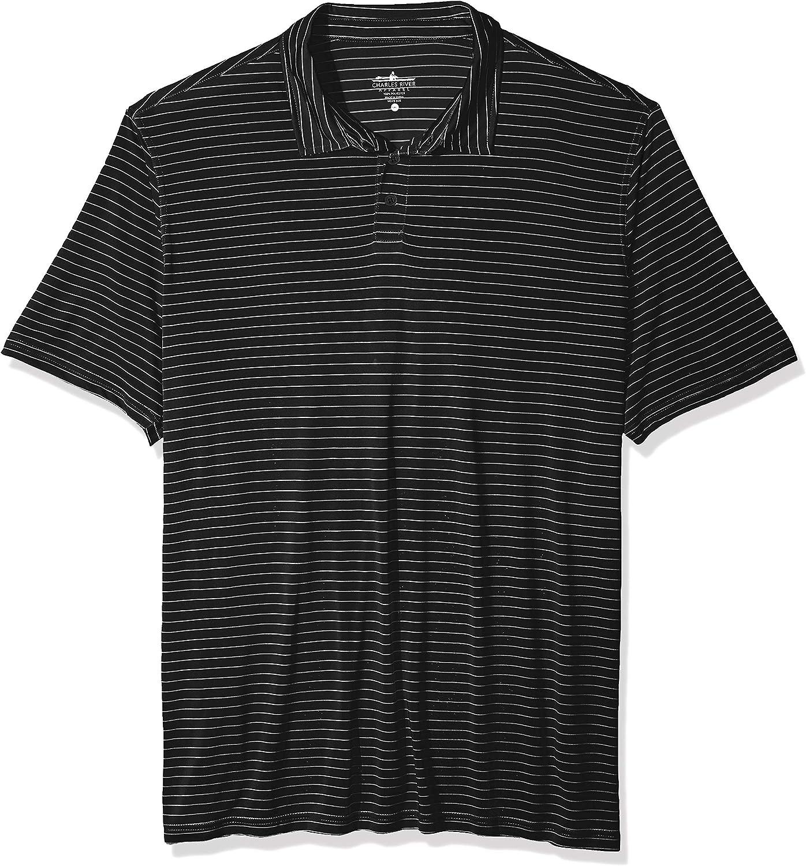 Charles River Apparel Men's Wellesley Polo Shirt, Black/White Stripe, 5XL