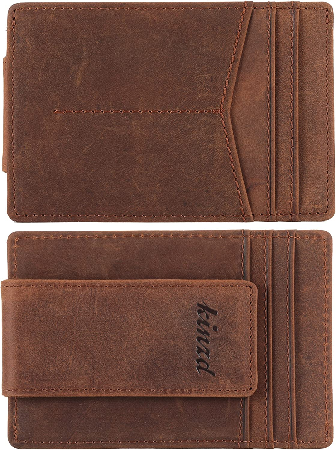 Kinzd Money Clip Front Pocket Wallet Leather RFID Blocking Strong Magnet Thin Wallet Men