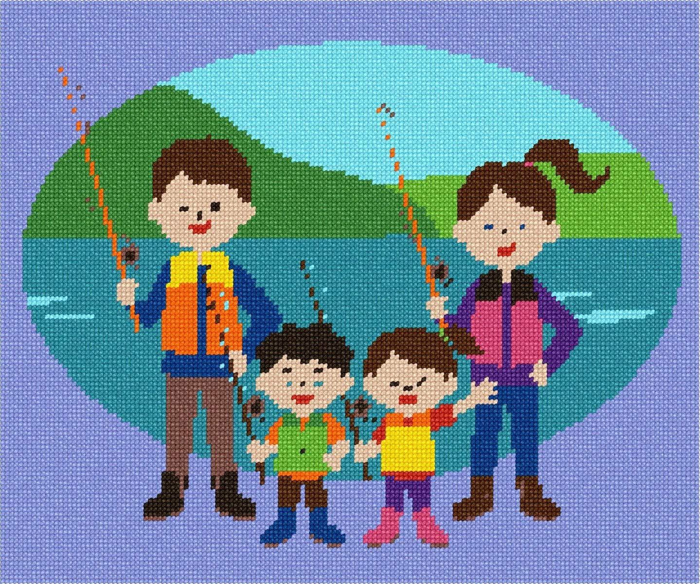 pepita Fashionable Fishing Family Max 86% OFF Needlepoint Kit