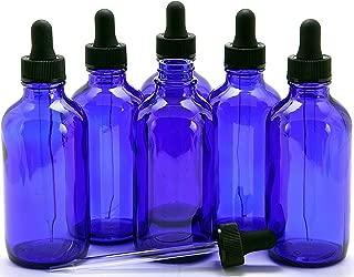 Vivaplex, 6, Cobalt Blue, 4 oz Glass Bottles, with Glass Eye Droppers
