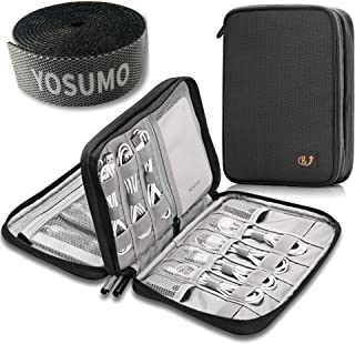 Double Layer Electronics Travel Organizer and Cable Management Straps | Case for Cords, USB,