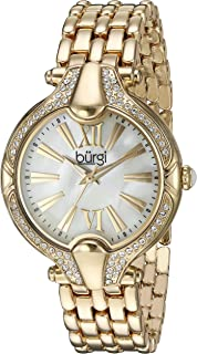 Burgi Women's BUR163 Mother-of-Pearl Dial with Swarovski Crystal Accented Bezel on Stainless Steel Bracelet Watch