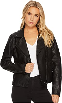 Black Vegan Leather Jacket in Onyx