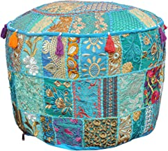 Indian Living Room Pouf, Foot Stool, Round Ottoman Cover Pouf,Traditional Handmade Decorative Patchwork Ottoman Cover Turq...