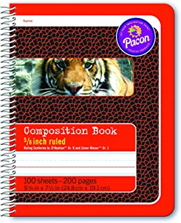 Pacon Primary Composition Spiral Book 5/8-in. Ruled, 100 Sheets, Red (2432)