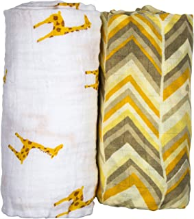Babio Muslin & Bamboo Cotton 2 Pack Baby Swaddle Blanket Set - 47 inch x 47 inch - Yellow/White
